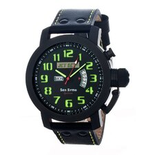 San Remo Men's Watch with Black Case and Black / Green Dial