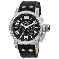 San Remo Ladies Watch with Black Band and Silver Case
