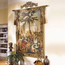 Asian Palm & Gatherers Tapestry