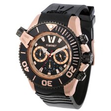 H2O Gent Men's Watch with Black Rubber Band and Rose Gold Case