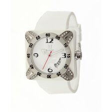 Deepest Lady Ladies Watch in White with Silver Bezel