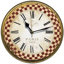 Paris 1898 French Check Border Wall Clock