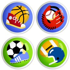 Game On Round Knob (Set of 4)