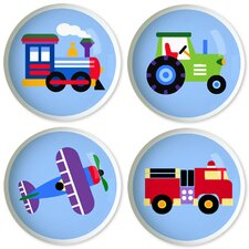 Trains, Planes and Trucks Round Knob (Set of 4)