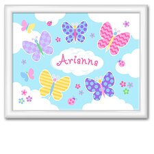 <strong>Olive Kids</strong> Butterfly Garden Personalized Print with Gloss White Frame