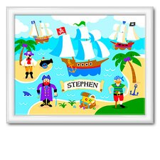 Pirates Large Personalized Print with Gloss White Frame