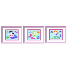 Mermaids Print with Lilac Frame (Set of 3)