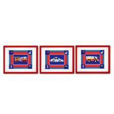 Heroes Print with Red Frame (Set of 3)