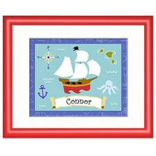 Pirates Personalized Print with Red Frame
