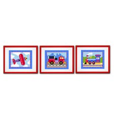 3 Piece Train, Plane and Truck Personalized Framed Art Set