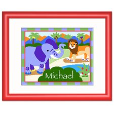 Wild Animals Personalized Print with Red Frame