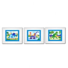 3 Piece Dinosaur Land Framed Art Set