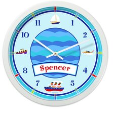 "<strong>Olive Kids</strong> Boats and Bouys 12"" Personalized Wall Clock"