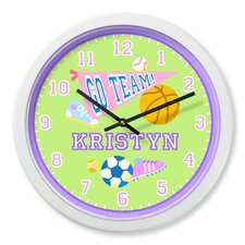 "Game On Girls 12"" Personalized Wall Clock"