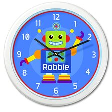 "<strong>Olive Kids</strong> Robots 12"" Personalized Wall Clock"