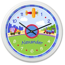 "<strong>Olive Kids</strong> Trains, Planes and Trucks 12"" Personalized Wall Clock"