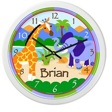 "<strong>Olive Kids</strong> Wild Animals 12"" Personalized Wall Clock"
