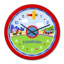 Trains, Planes and Trucks Personalized Clock