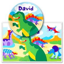 <strong>Olive Kids</strong> Dinosaur Land Personalized Meal Time Plate Set