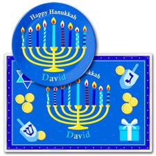 <strong>Olive Kids</strong> Hanukkah Personalized Kids Meal Time Plate Set