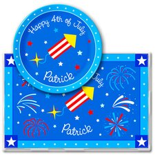 4th of July Rocket Personalized Meal Time Plate Set