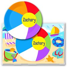 Summer Beach Ball Personalized Meal Time Plate Set