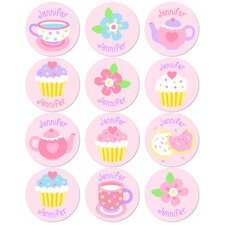 Tea Party Personalized Stickers (Set of 60)