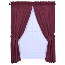 Logan Solid Color Tailored Panel Pair Curtains with Tiebacks