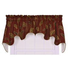 <strong>Ellis Curtain</strong> Riviera Cotton Blend Large Scale Leaf and Vine Lined Duchess Window Curtain Valance