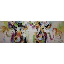 Glasbild Kühe - 33 x 95 cm