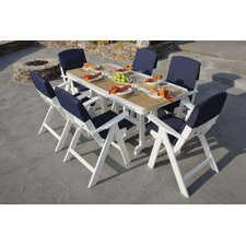 <strong>POLYWOOD®</strong> Nautical 7 Piece Dining Set with Slip Cushions