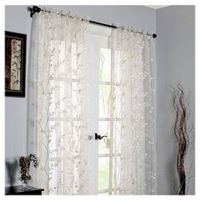 Embroidered Rod Pocket Curtain Single Panel