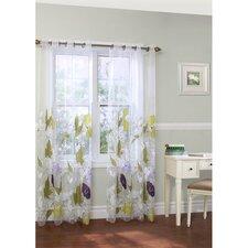 Floral Grommet Curtain Single Panel