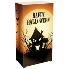 Haunted House Resuable Plastic Luminarias Lanterns (Set of 12)