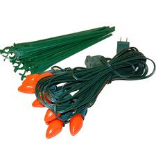 10 Count Electric Pathway Lights with Orange Bulbs