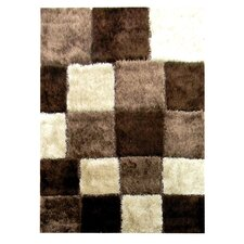 Flash Shaggy Chocolate Geometric Square Rug