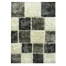 Flash Shaggy White Geometric Square Rug