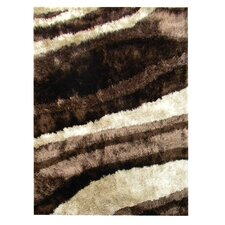 Flash Shaggy Chocolate Abstract Wave Rug