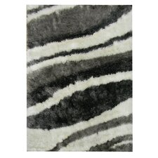 Flash Shaggy White Abstract Wave Rug