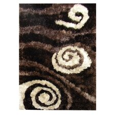 Flash Shaggy Chocolate Abstract Swirl Rug