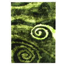 Flash Shaggy Green Abstract Swirl Rug