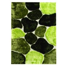 Flash Shaggy Green Abstract Color Block Rug