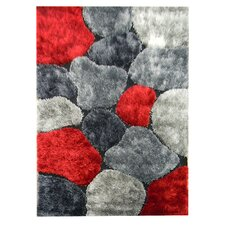 Flash Shaggy Red Abstract Color Block Rug