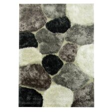 Flash Shaggy Titanium Abstract Color Block Rug