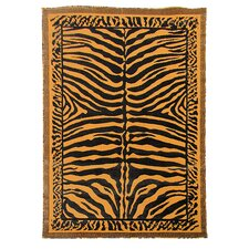 Kingdom Golden Brown Animal Skin Print Rug