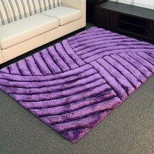 Shaggy Purple Abstract Wave Area Rug