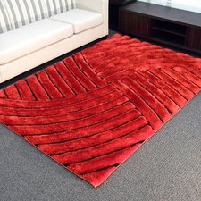 Shaggy Red Abstract Wave Area Rug