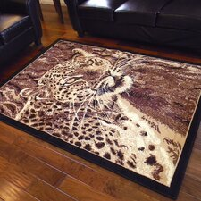 African Adventure Leopard Head Brown Area Rug