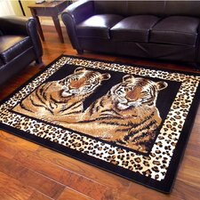 African Adventure Camel Twin Tigers Leopard Skin Print Area Rug