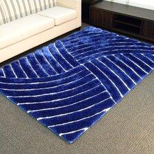 Shaggy Blue Abstract Wave Area Rug